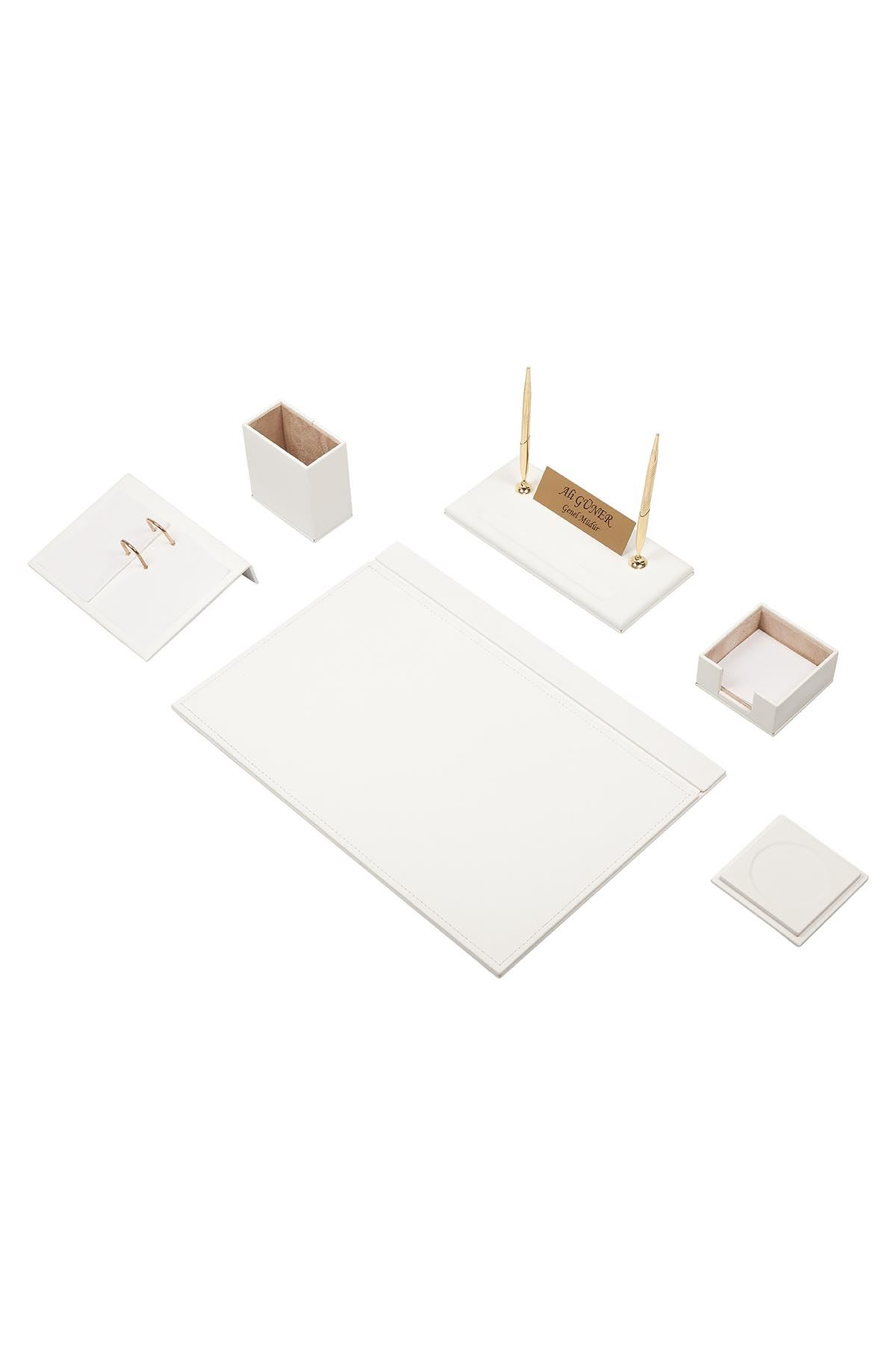 Leather Desk Set 8 Accessories White