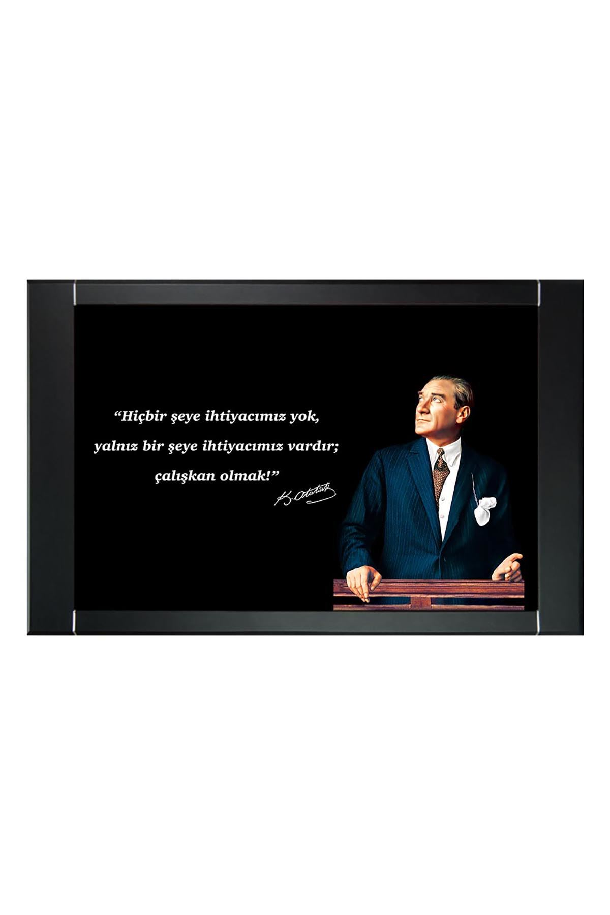Atatürk in Council Printed Manager Board | Printed Manager Board | Leather Framed Board | High Quality Manager Board