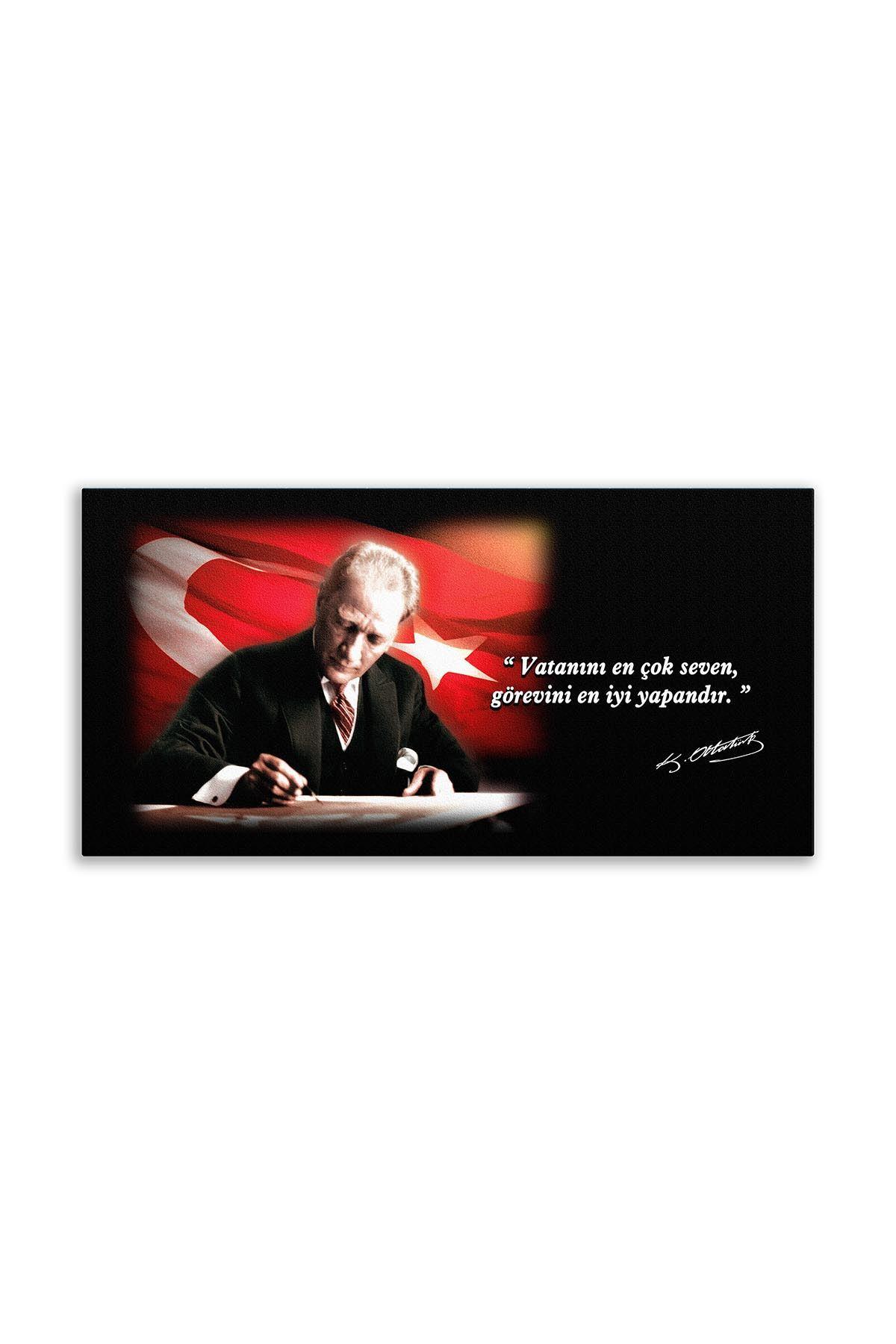 Atatürk Canvas Board With Turkish Flag   Printed Canvas Board   Customized Canvas Board