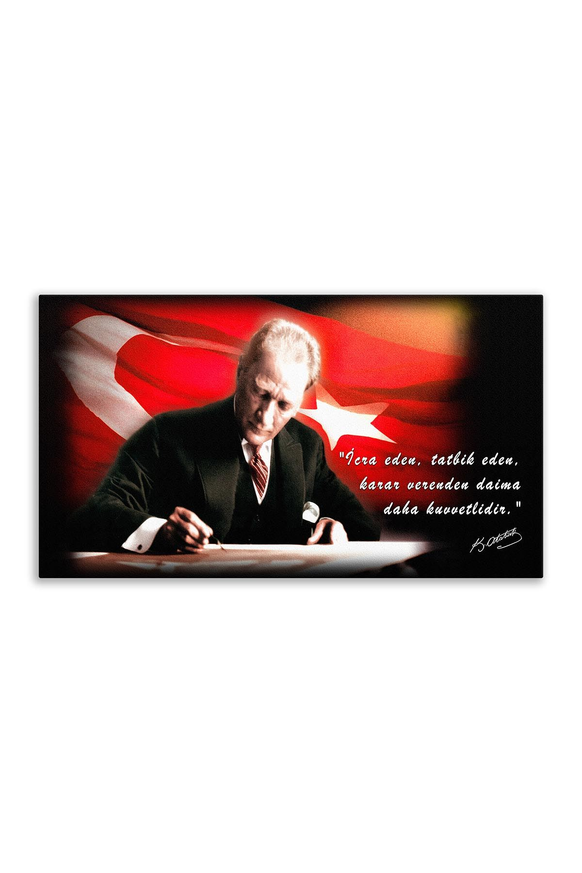 Atatürk Canvas Board With Turkish Flag | Printed Canvas Board