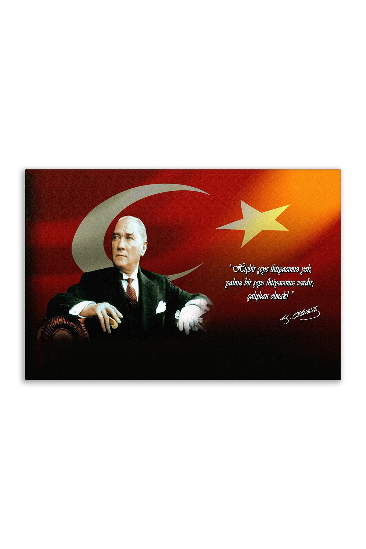 Atatürk Canvas Board With Turkish Flag | Printed Canvas Board | Digital Printed Board