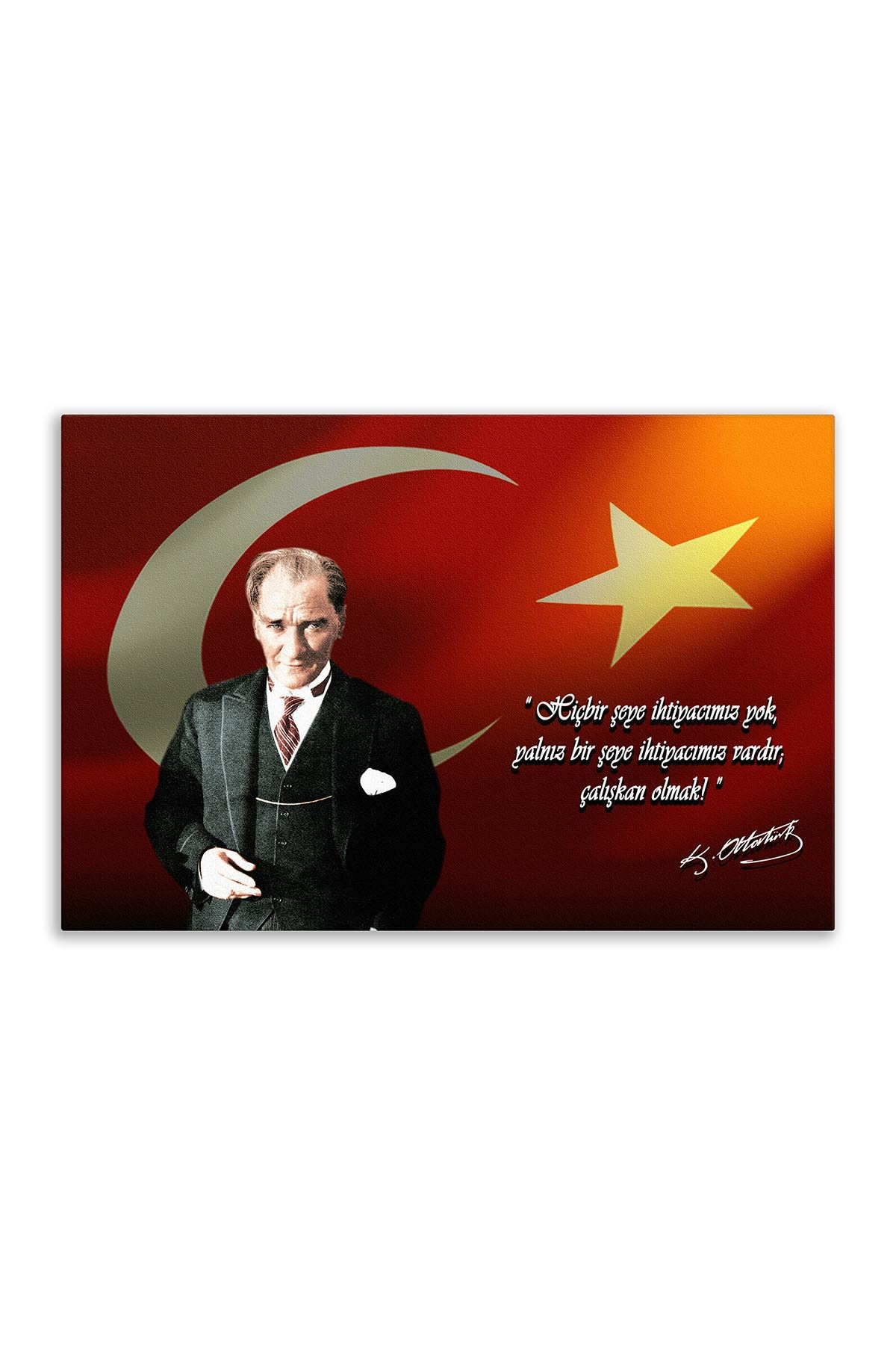 Atatürk Canvas Board With Turkish Flag | Customized Canvas Board