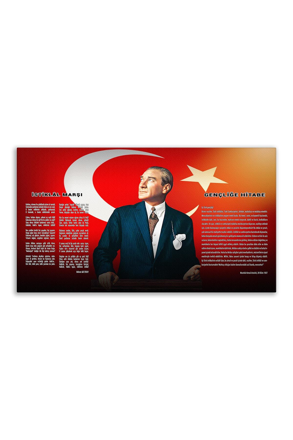 Atatürk Canvas Board With Turkish Flag | Printed Canvas Board | Digital Printing