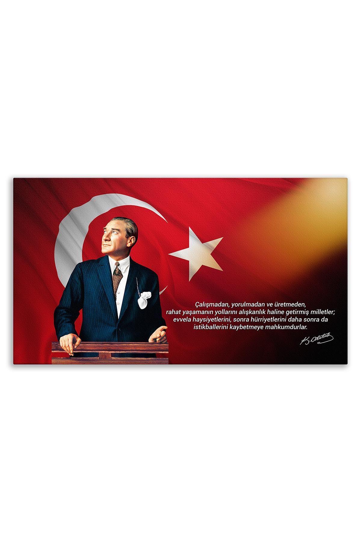 Atatürk Canvas Board With Turkish Flag | Printed Canvas Board | Customized Board