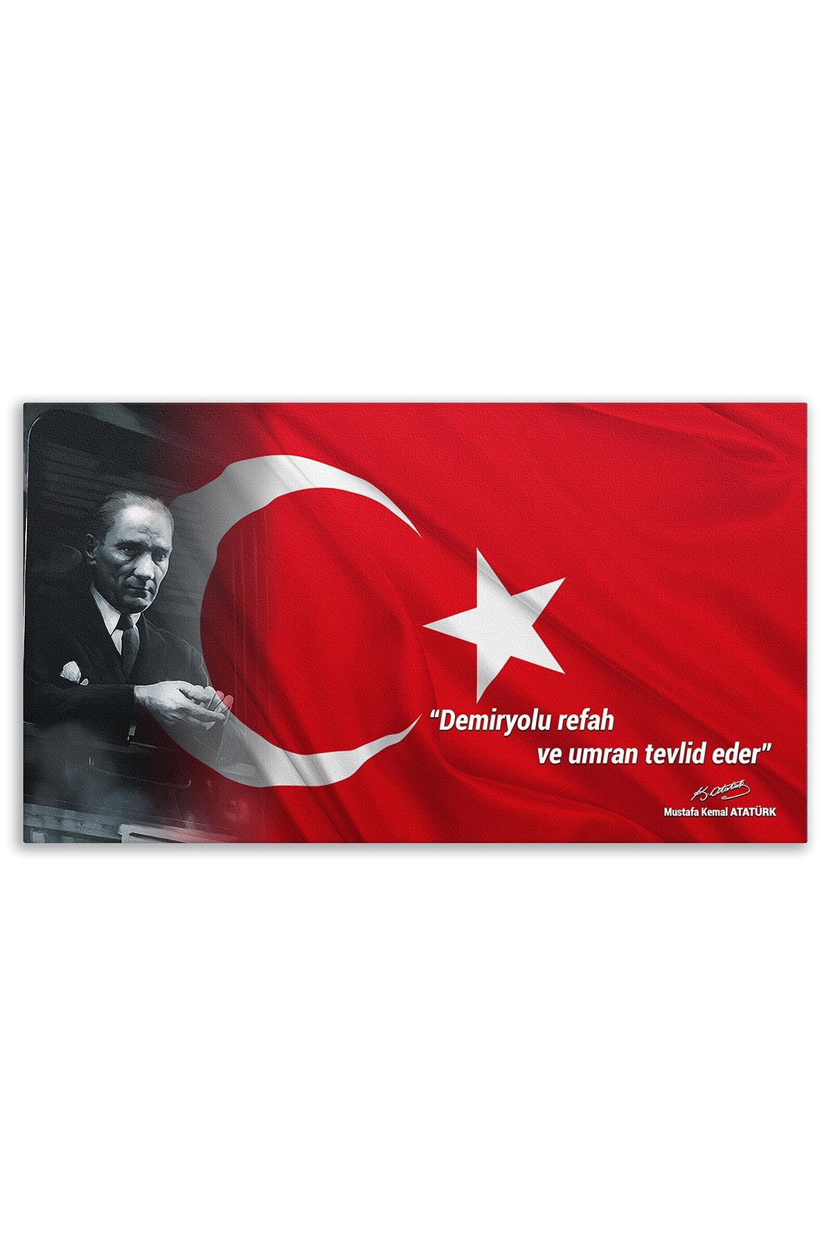 Atatürk With Turkish Flag Canvas Board | Printed Canvas Board | Customized Canvas Board |Digital Printing