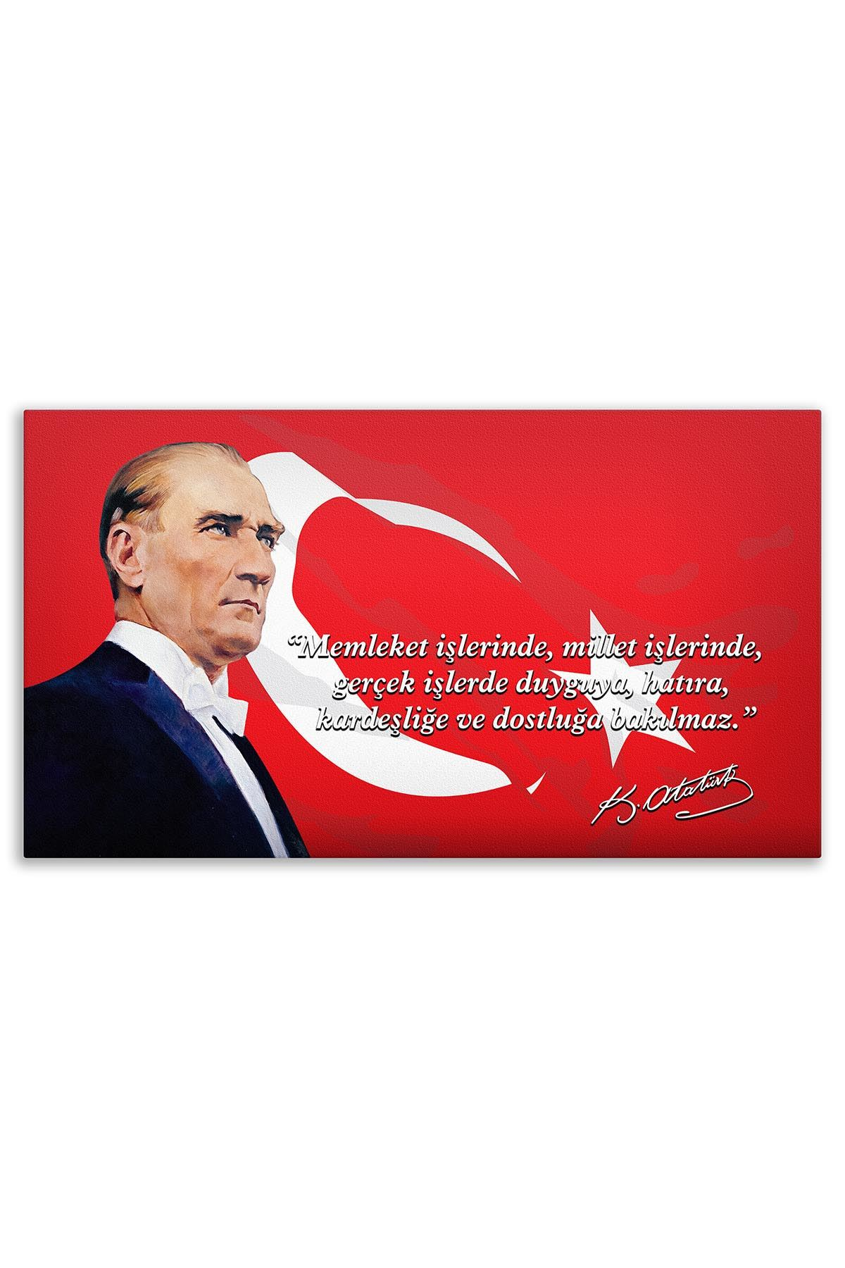 Atatürk Canvas Board With Turkish Flag | Printed Canvas Board | Customized Canvas Board