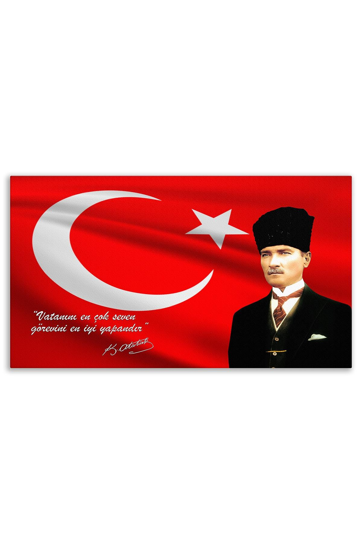 Atatürk in Black Suit Canvas Board | Decorative Painting | Printed Board | Personalized Pictures | Canvas Board