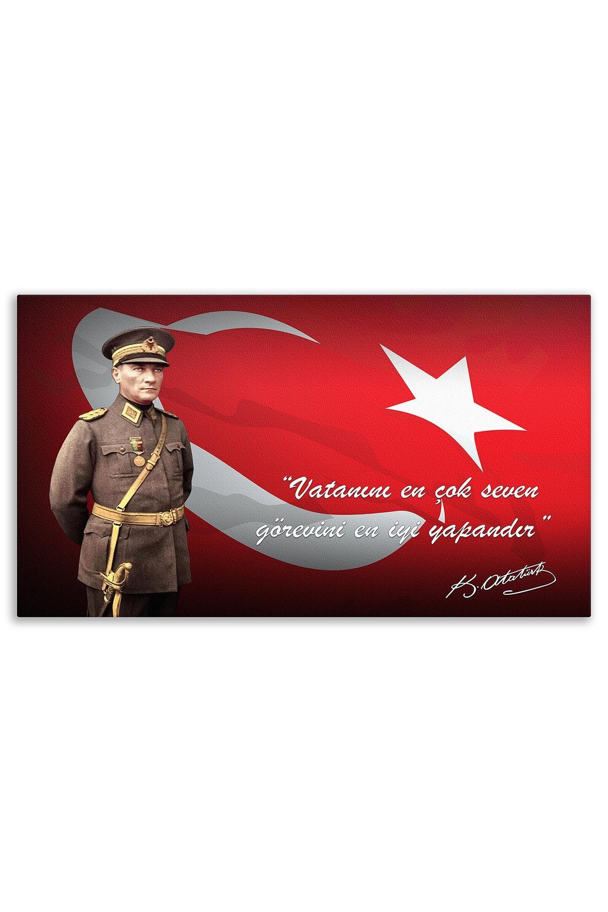 Atatürk With Turkish Flag Canvas Board | Printed Canvas Board | Customized Canvas Board | Digital Printing