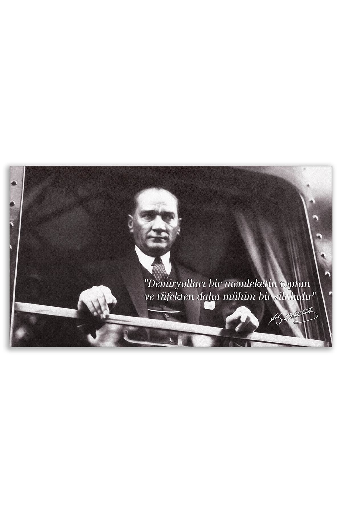 Ataturk Canvas Board With Turkish Flag| Printed Canvas Board | Customized Canvas Board