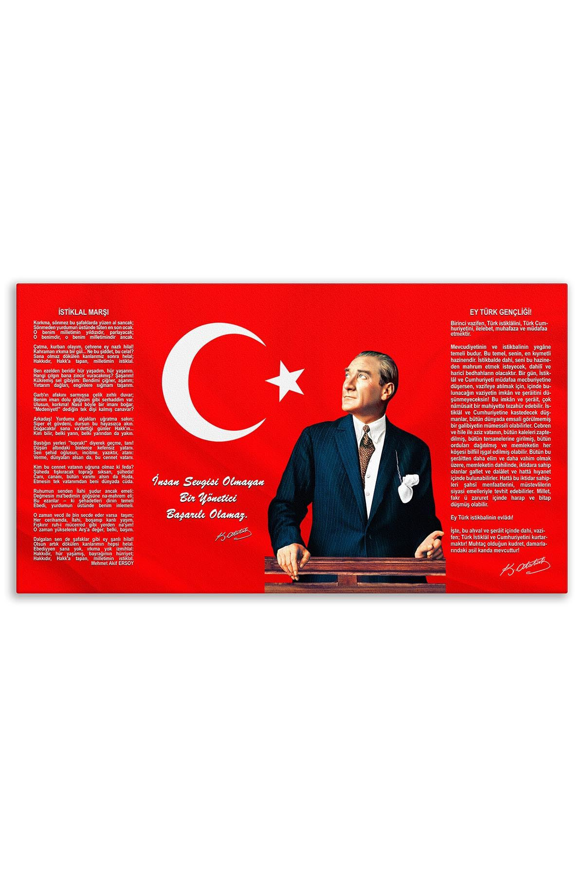 Ataturk Canvas Board With Turkish Flag | Printed Canvas Board | Customized Canvas Board