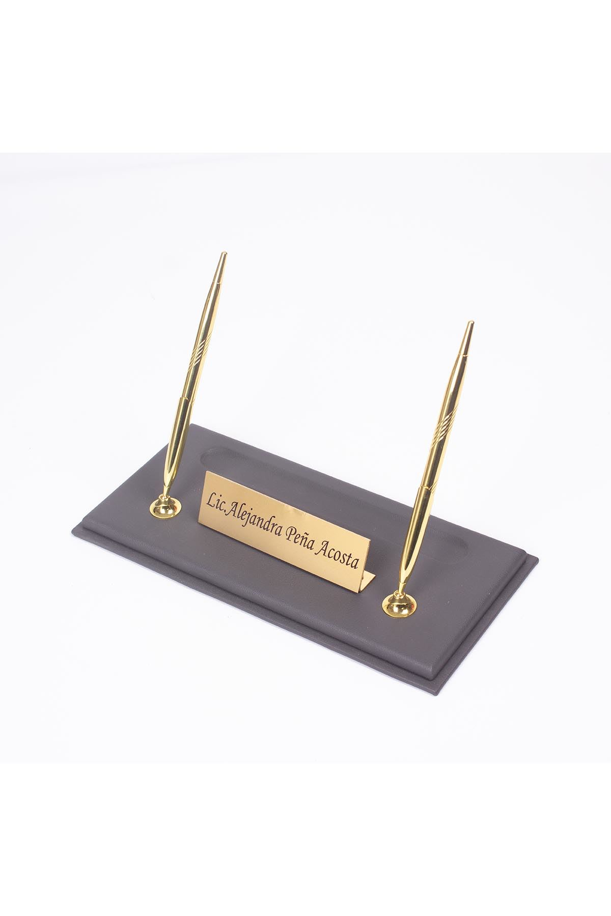 Leather Manager Pen Base Gray| Name Plate | Golden Pen Base | Desk Accessories
