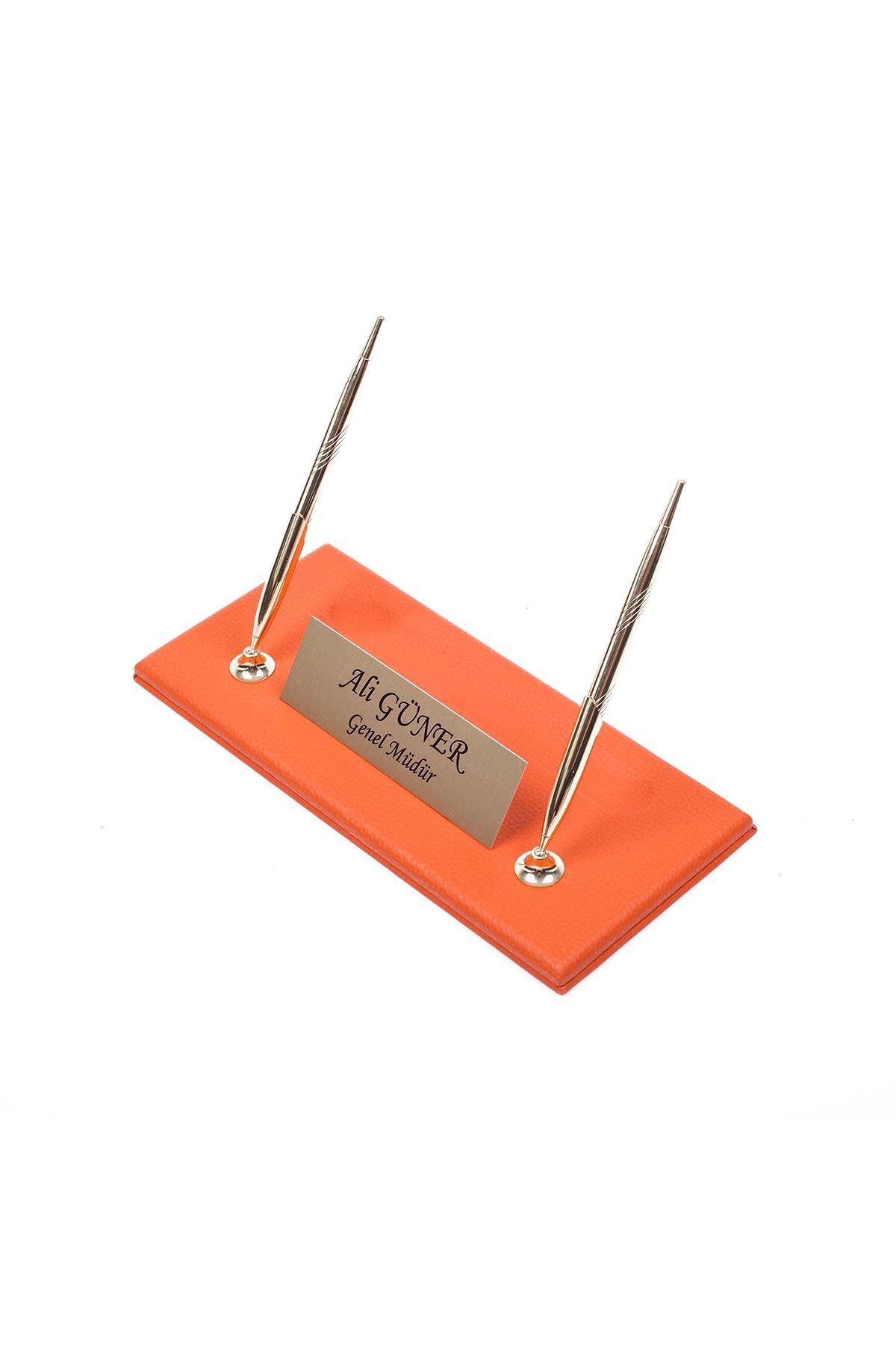 Leather Manager Pen Base Orange| Name Plate | Golden Pen Base | Desk Accessories