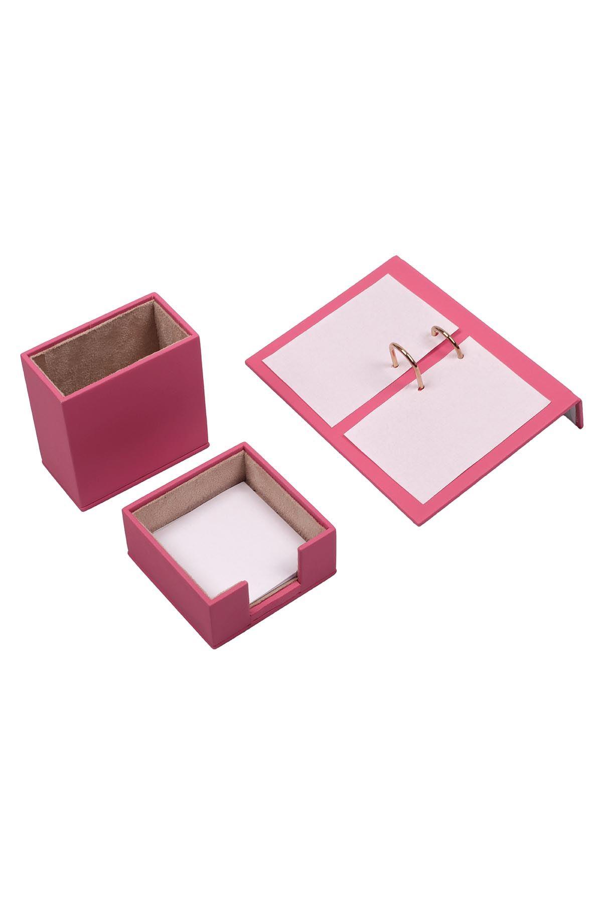 Leather Desk Accessories set of 3 | Desk Set Accessories Pink | Desktop Accessories | Desk Accessories | Desk Organizers