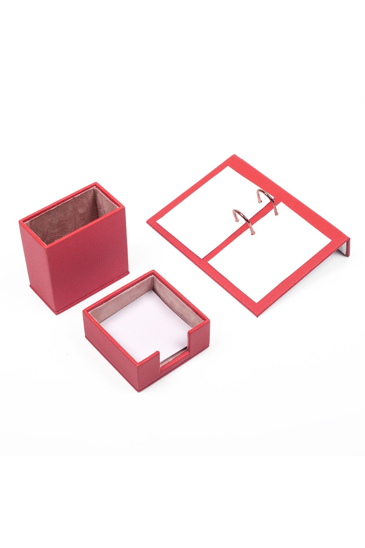 Leather Desk Accessories set of 3 Red| Desk Set Accessories | Desktop Accessories | Desk Accessories | Desk Organizers