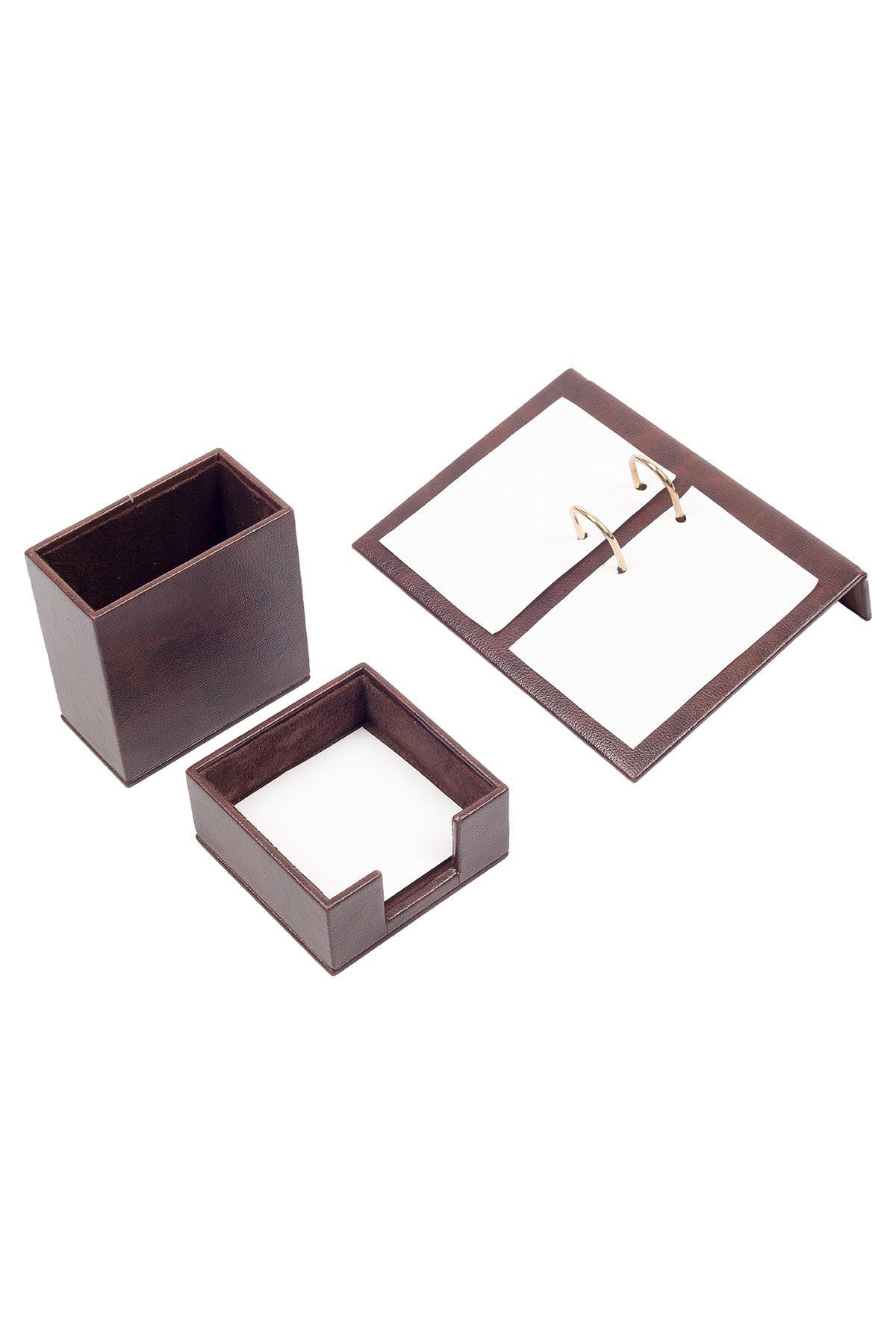 Leather Desk Accessories set of 3 Brown  Desk Set Accessories   Desktop Accessories   Desk Accessories   Desk Organizers