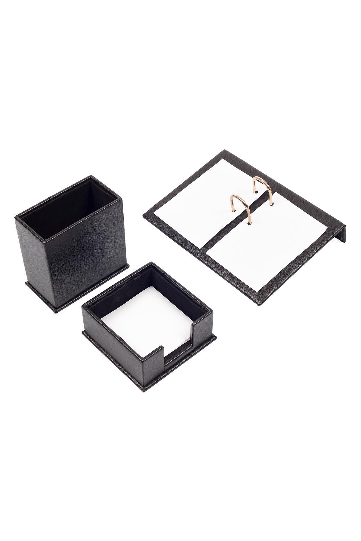 Leather Desk Accessories set of 3 Black| Desk Set Accessories | Desktop Accessories | Desk Accessories | Desk Organizers