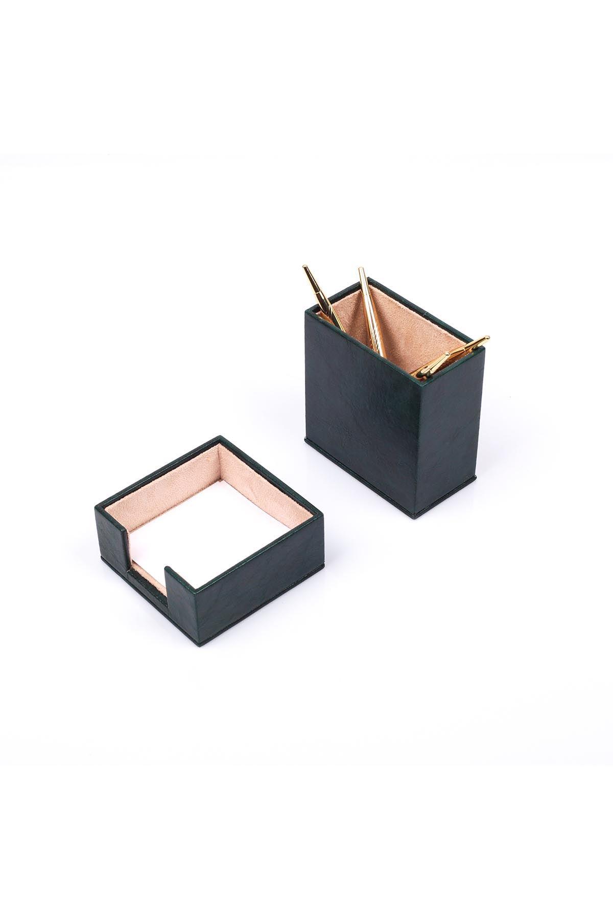 Leather Desk Accessories set of 2 Green| Desk Set Accessories | Desktop Accessories | Desk Accessories | Desk Organizers