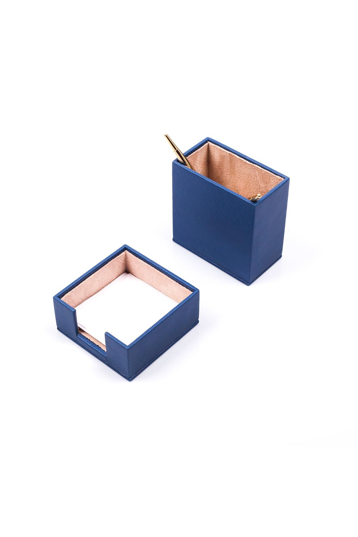 Leather Desk Accessories set of 2 Blue| Desk Set Accessories | Desktop Accessories | Desk Accessories | Desk Organizers | Pencil Holder | Note Paper Holder