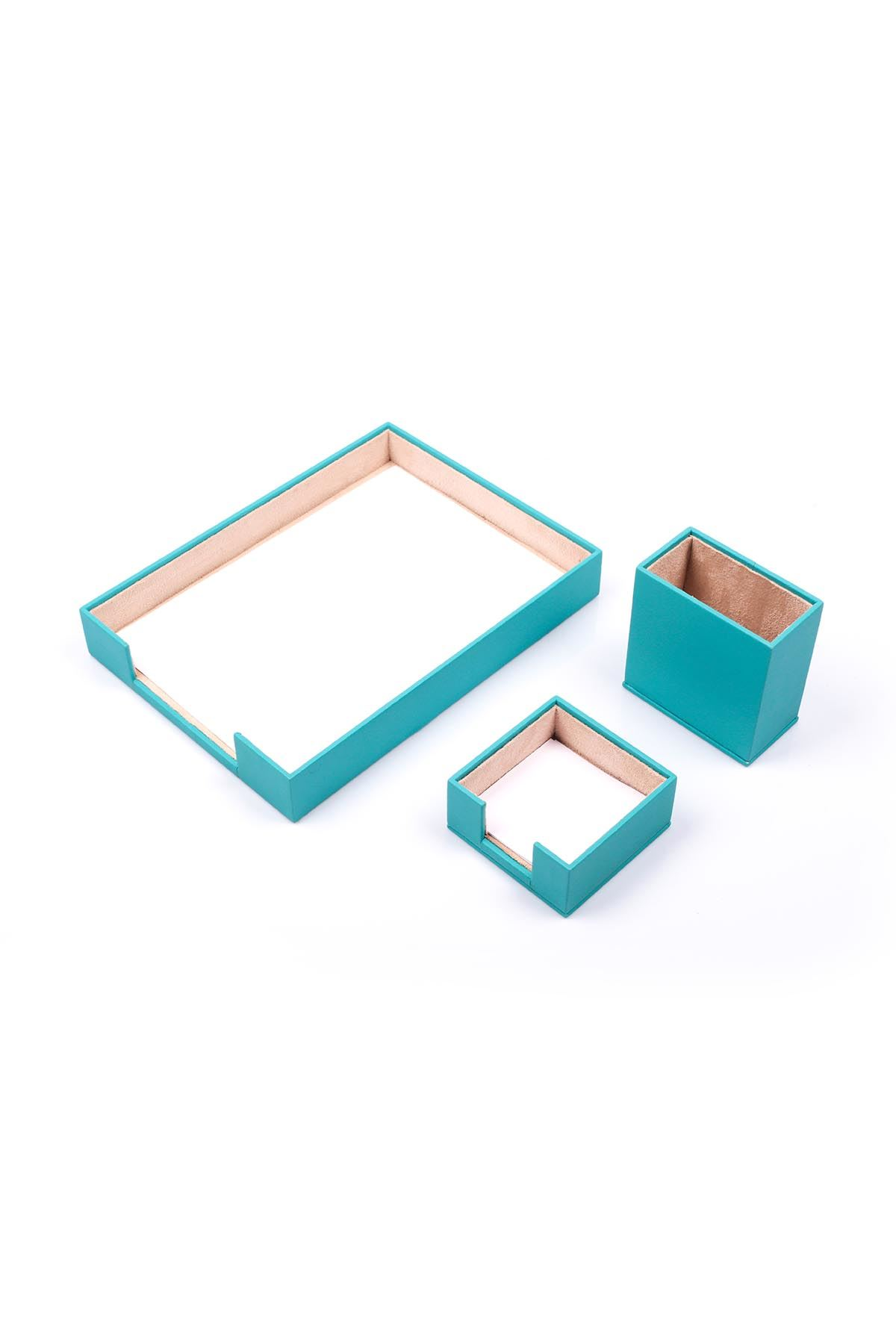 Document Tray With 2 Accessories Turquise| Desk Set Accessories | Desktop Accessories | Desk Accessories | Desk Organizers