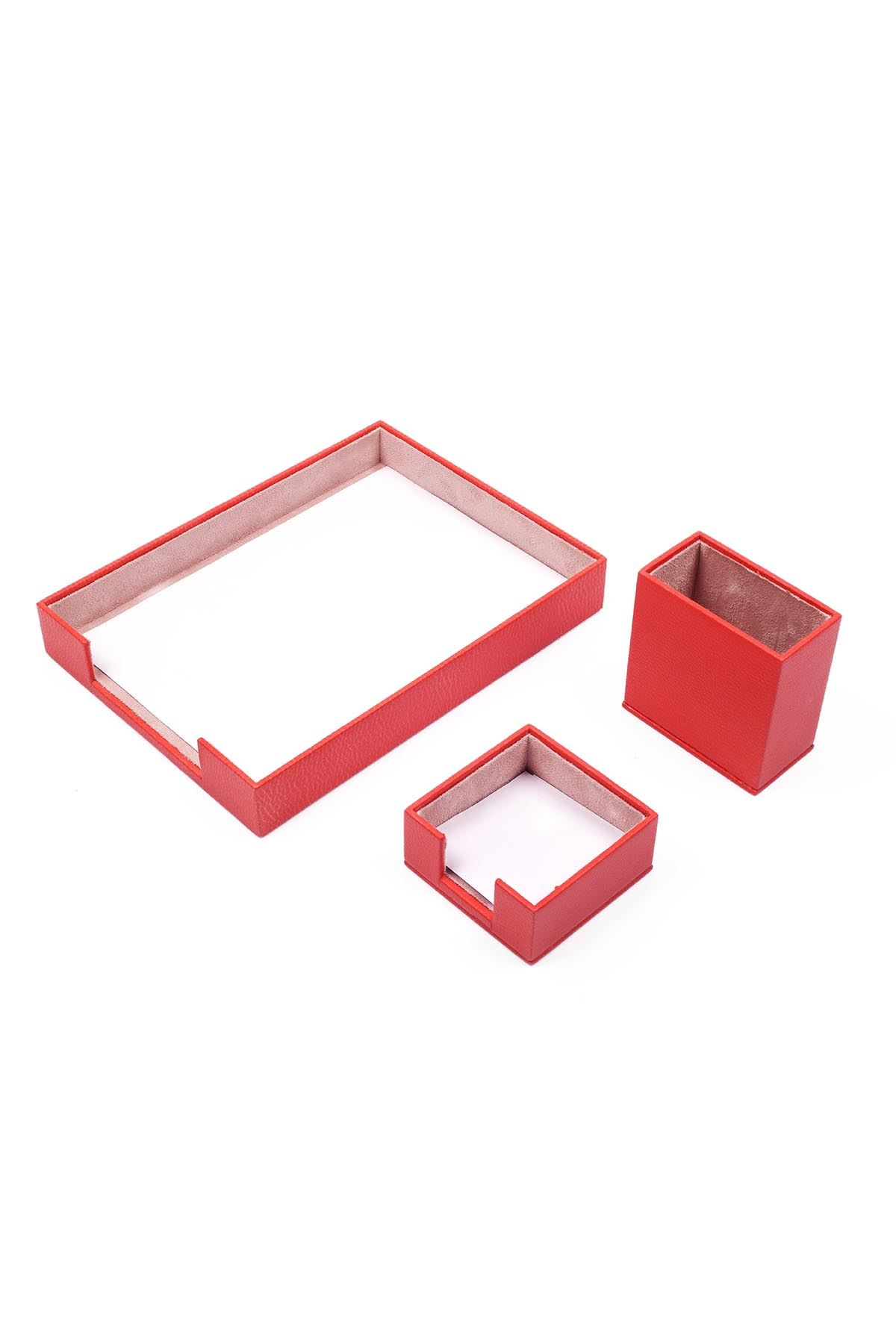 Document Tray With 2 Accessories Red| Desk Set Accessories | Desktop Accessories | Desk Accessories | Desk Organizers