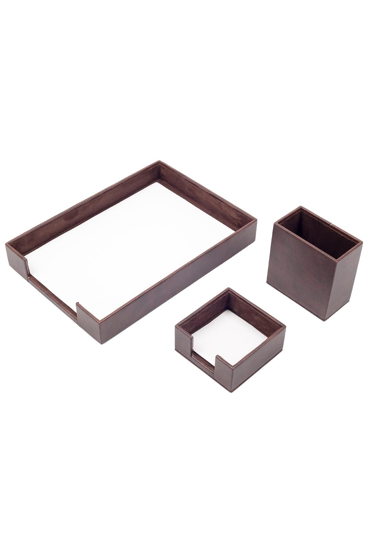 Document Tray With 2 Accessories Brown| Desk Set Accessories | Desktop Accessories | Desk Accessories | Desk Organizers