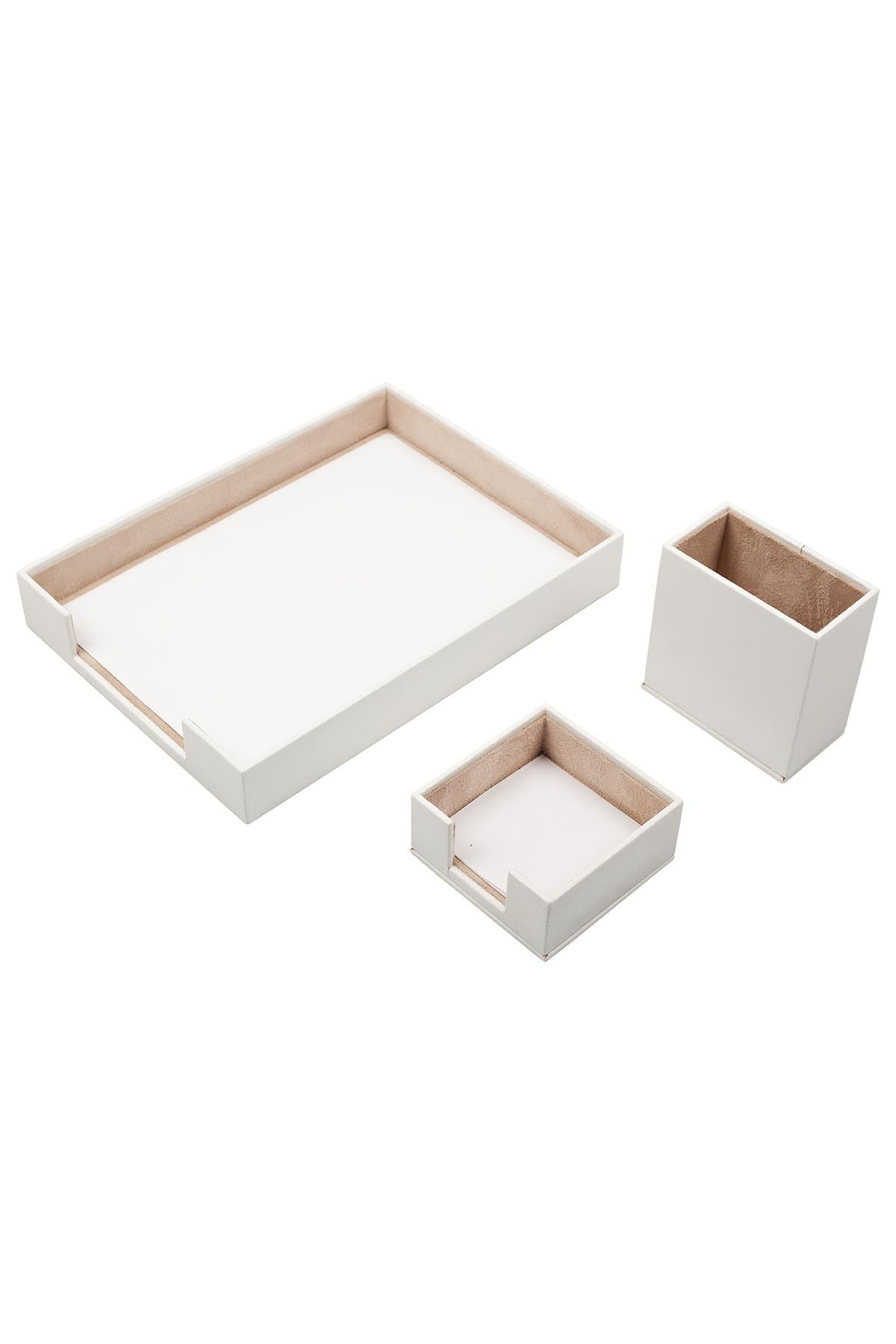 Document Tray With 2 Accessories White| Desk Set Accessories | Desktop Accessories | Desk Accessories | Desk Organizers