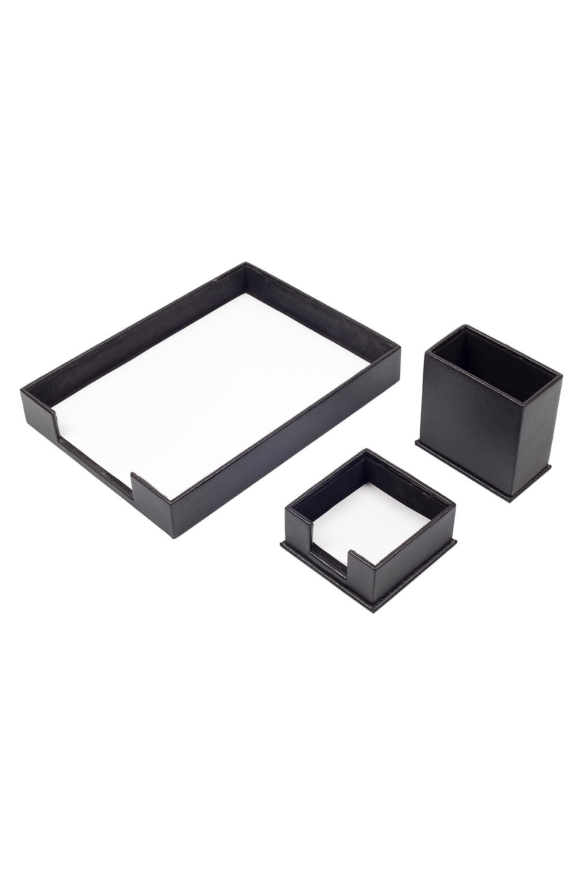 Document Tray With 2 Accessories Black| Desk Set Accessories | Desktop Accessories | Desk Accessories | Desk Organizers