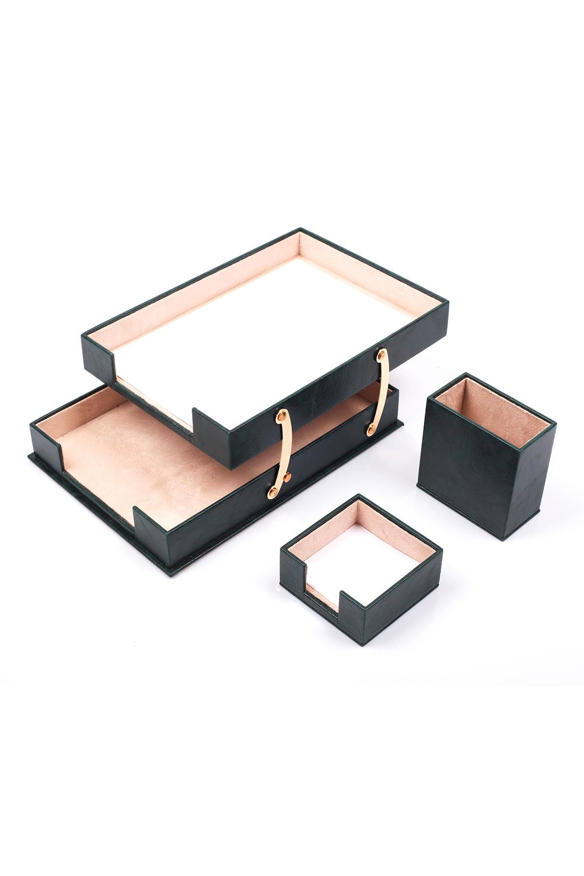 Double Document Tray With 2 Accessories Green| Desk Set Accessories | Desktop Accessories | Desk Accessories | Desk Organizers
