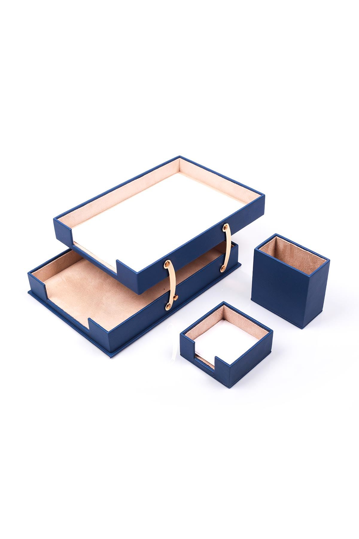 Double Document Tray With 2 Accessories Blue| Desk Set Accessories | Desktop Accessories | Desk Accessories | Desk Organizers