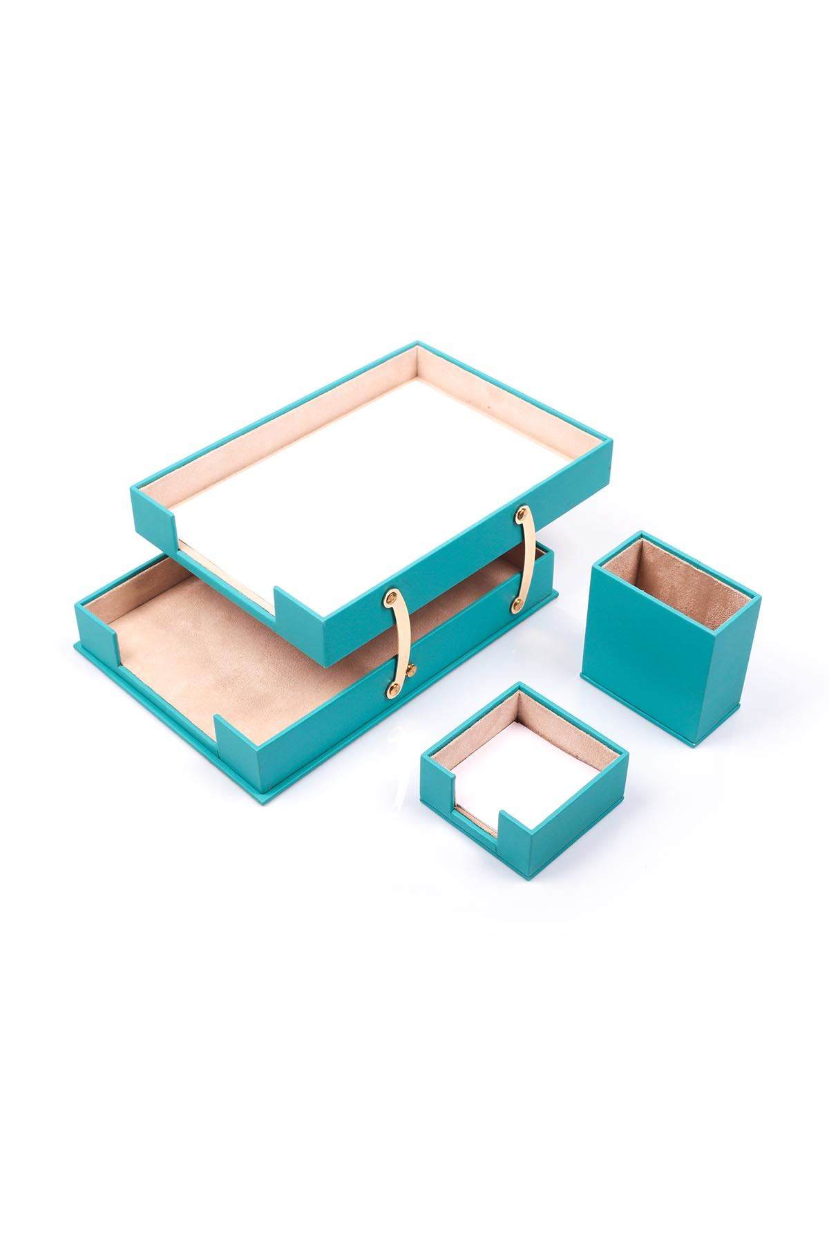 Double Document Tray With 2 Accessories Turquise| Desk Set Accessories | Desktop Accessories | Desk Accessories | Desk Organizers