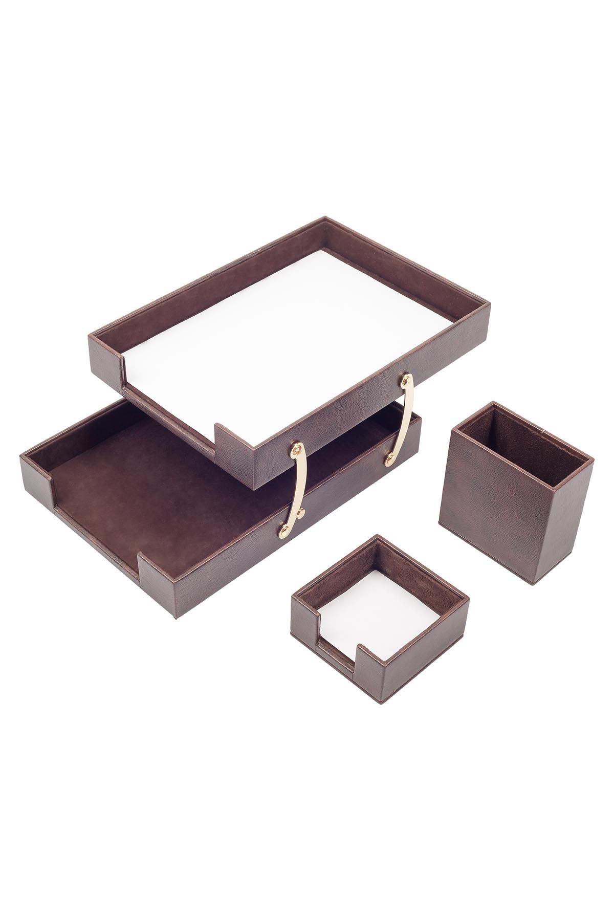 Double Document Tray With 2 Accessories Brown| Desk Set Accessories | Desktop Accessories | Desk Accessories | Desk Organizers