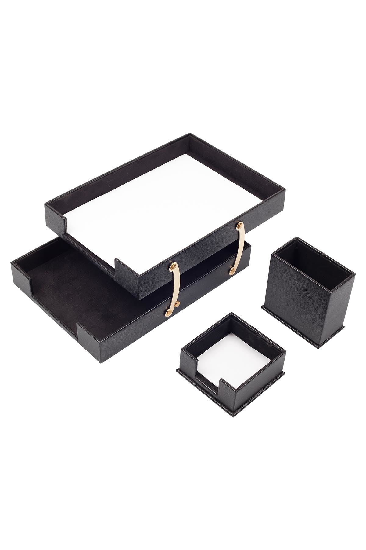 Double Document Tray With 2 Accessories Black| Desk Set Accessories | Desktop Accessories | Desk Accessories | Desk Organizers