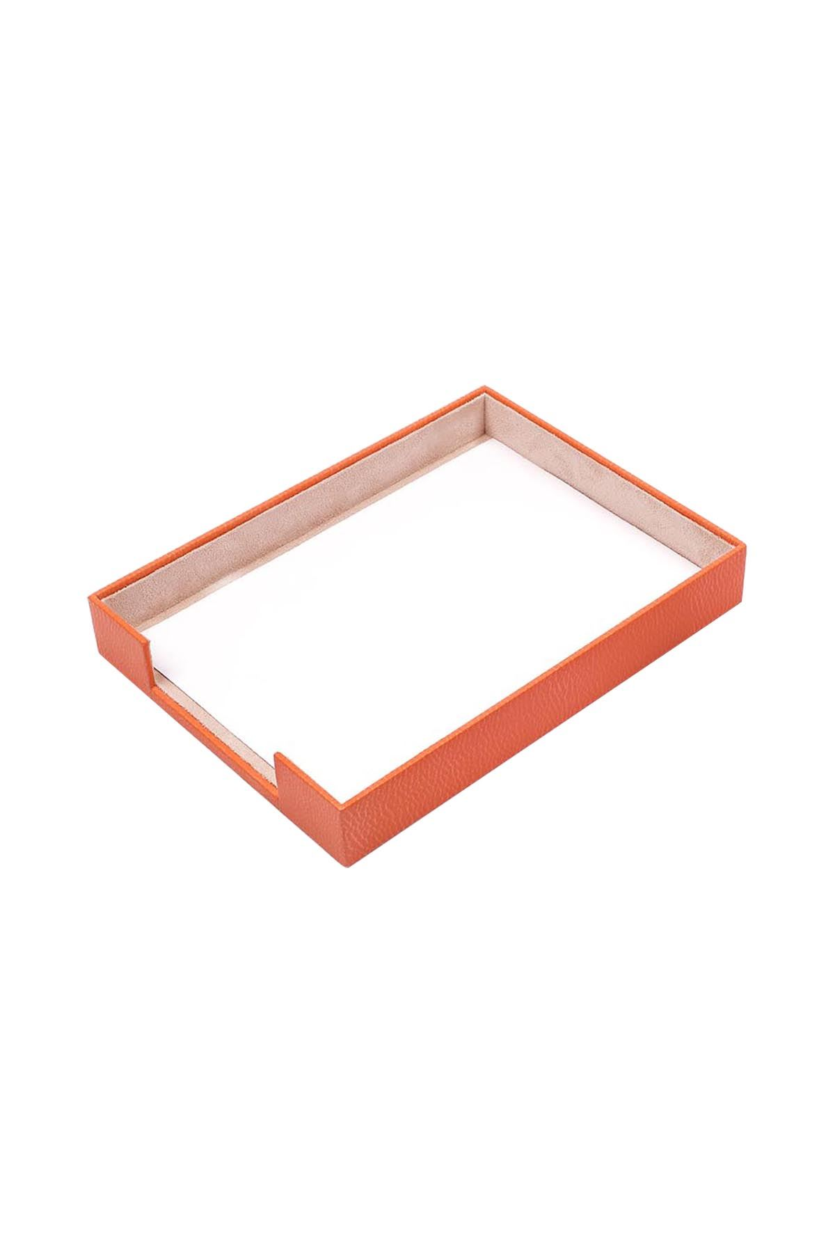 Document Tray Orange| Leather Document Organizer | Leather Tray | Leather Organizer | Document Shelf