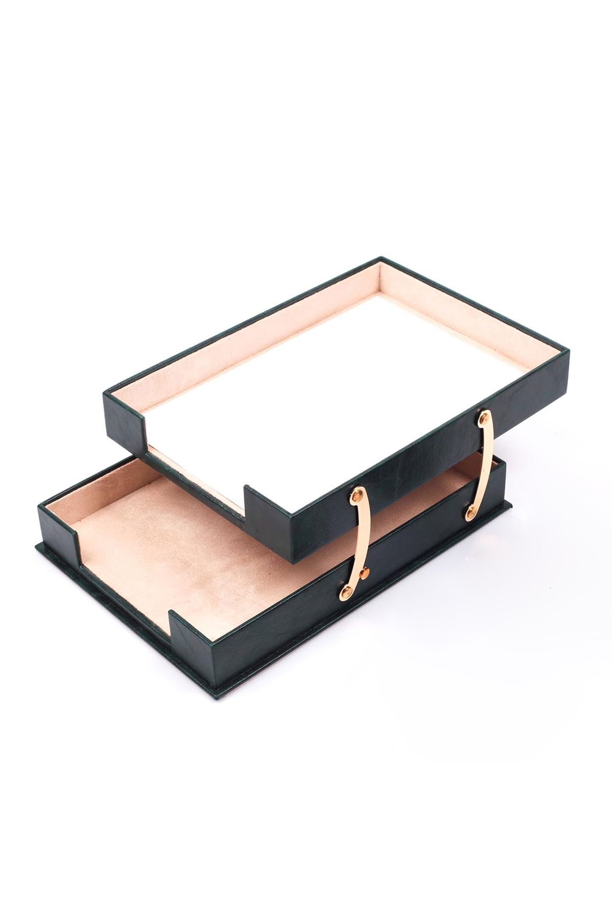 Double Document Tray Green| Leather Document Organizer | Leather Foldable Tray | Leather Organizer | Double Document Shelves