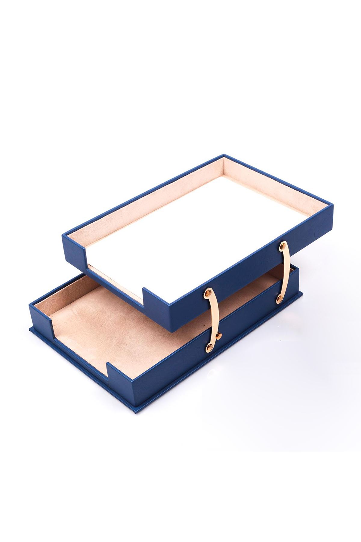 Double Document Tray Blue| Leather Document Organizer | Leather Foldable Tray | Leather Organizer | Double Document Shelves