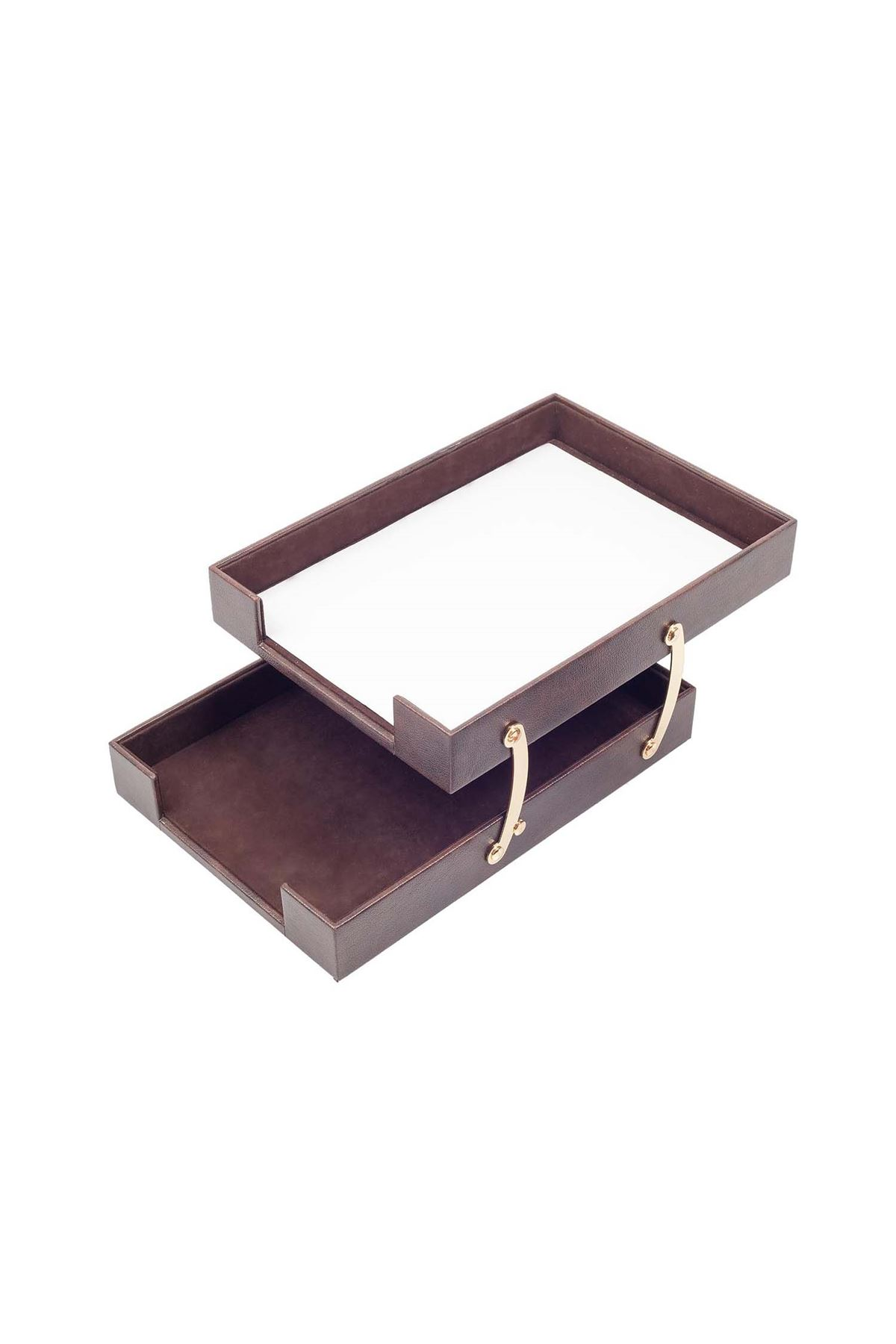 Double Document Tray Brown| Leather Document Organizer | Leather Foldable Tray | Leather Organizer | Double Document Shelves