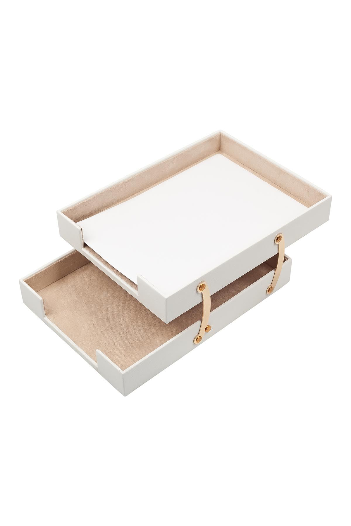 Double Document Tray White| Leather Document Organizer | Leather Foldable Tray | Leather Organizer | Double Document Shelves